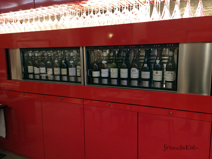 wine wall at l'oiseau de vignes in beaune