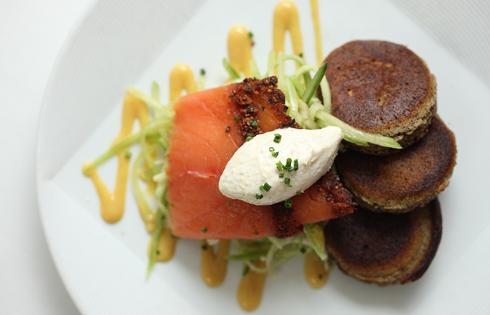 Pastrami Salmon with Pumpkin Blini - David Burke Kitchen