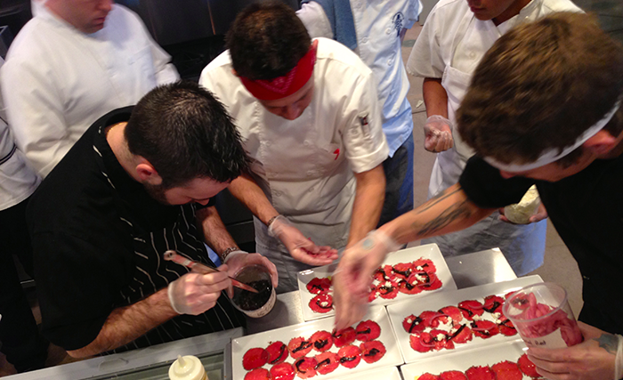 chefs-from-gertrudes-preparing-the-Bison-Carpaccio