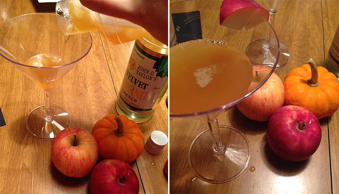 shaking-pouring-of-apple-cider-martini-into-glass