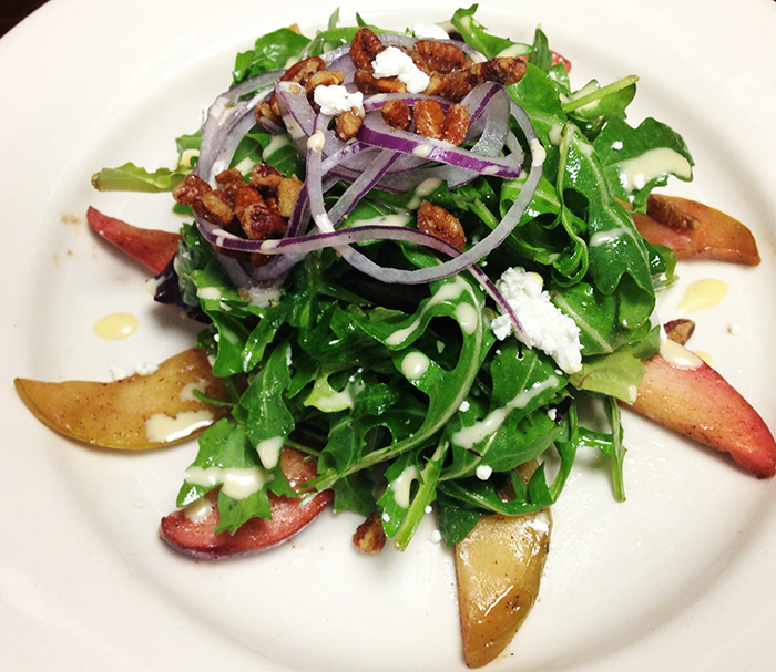 Baby-Arugula-Salad-with-Caramelized-Apples,-Candied-Pecans-&-Goat-Cheese-by-Chef-Paul-Simon-of-New-York-Beer-Company