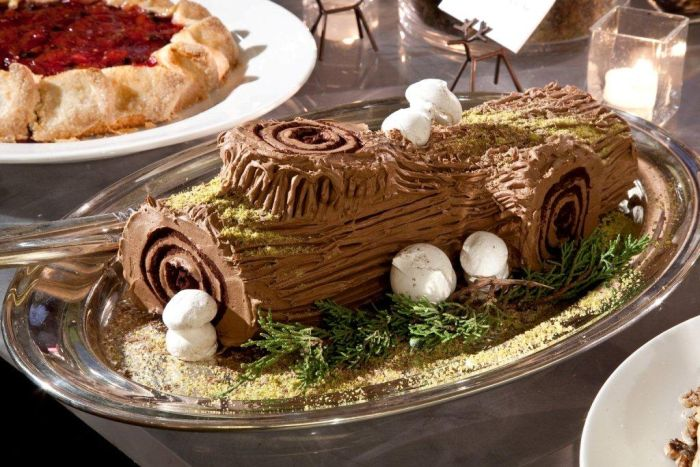 Traditional French Yule Log for Christmas